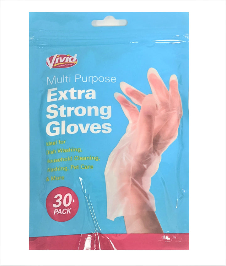 Vivid Disposable Multi Purpose Extra Strong Gloves - 30 Pack