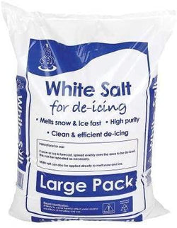 large bag of white rock salt. The white salt for use on snow and ice