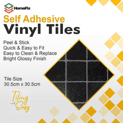 Black Self Adhesive Vinyl Floor Tiles for use in kitchens and bathrooms