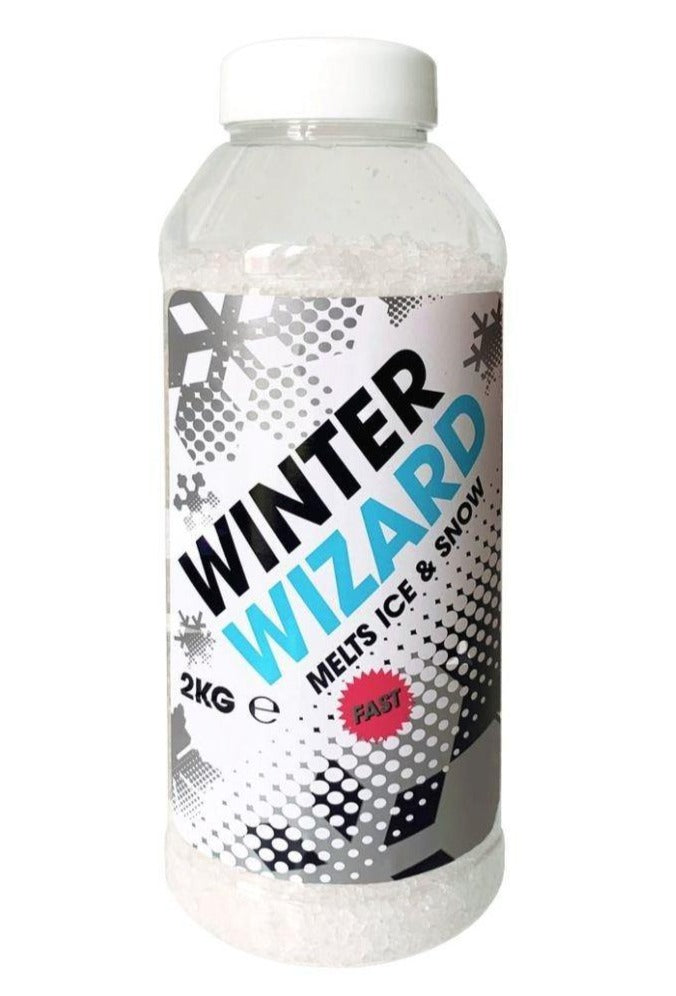 Winter Wizard Fast De-Icer bottle shaker an effective snow salt and winter salt