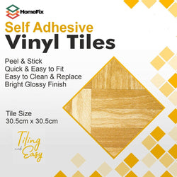 8 Peel & Stick Wood Self Adhesive Vinyl Floor Tiles - HomeFix