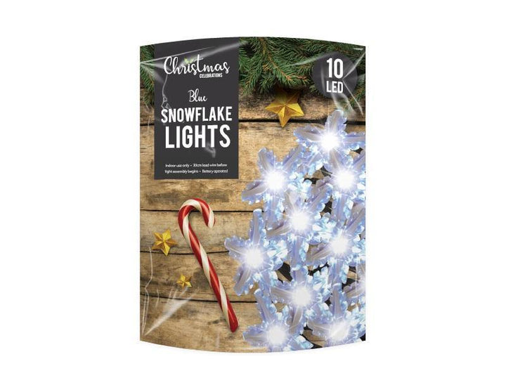 Blue LED Christmas Snowflake String Lights - 10 LEDs - HomeFix