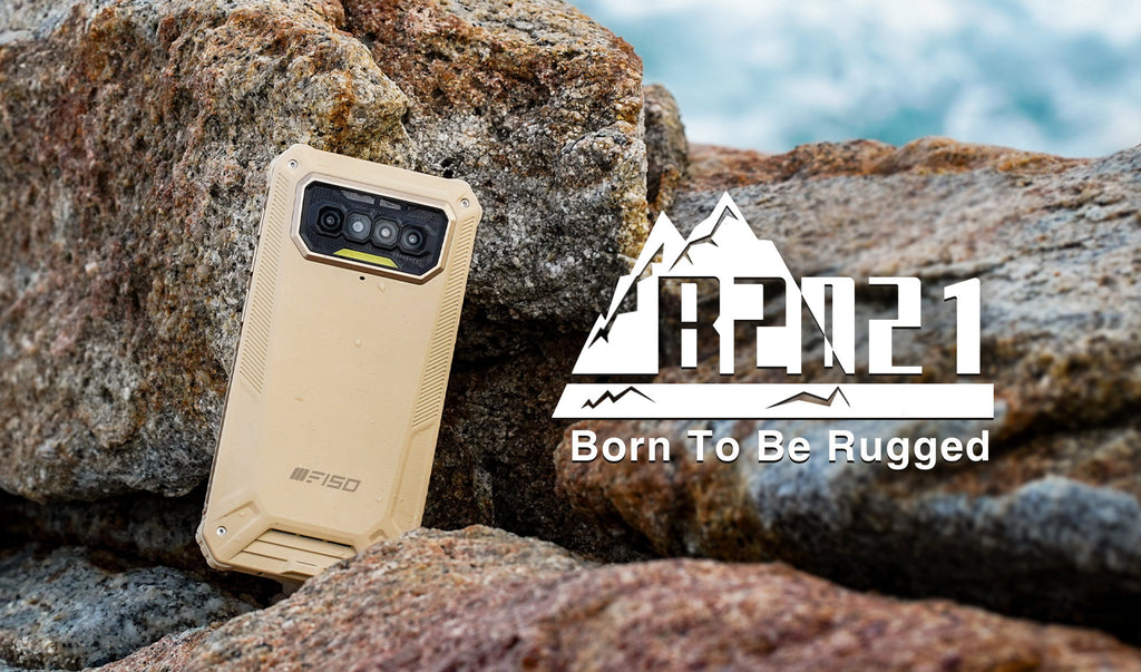 F150 B2021 rugged phone rests against a rocky with the Bison logo around it