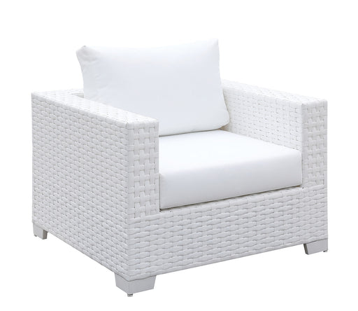 Somani White Wicker/White Cushion Arm Chair image