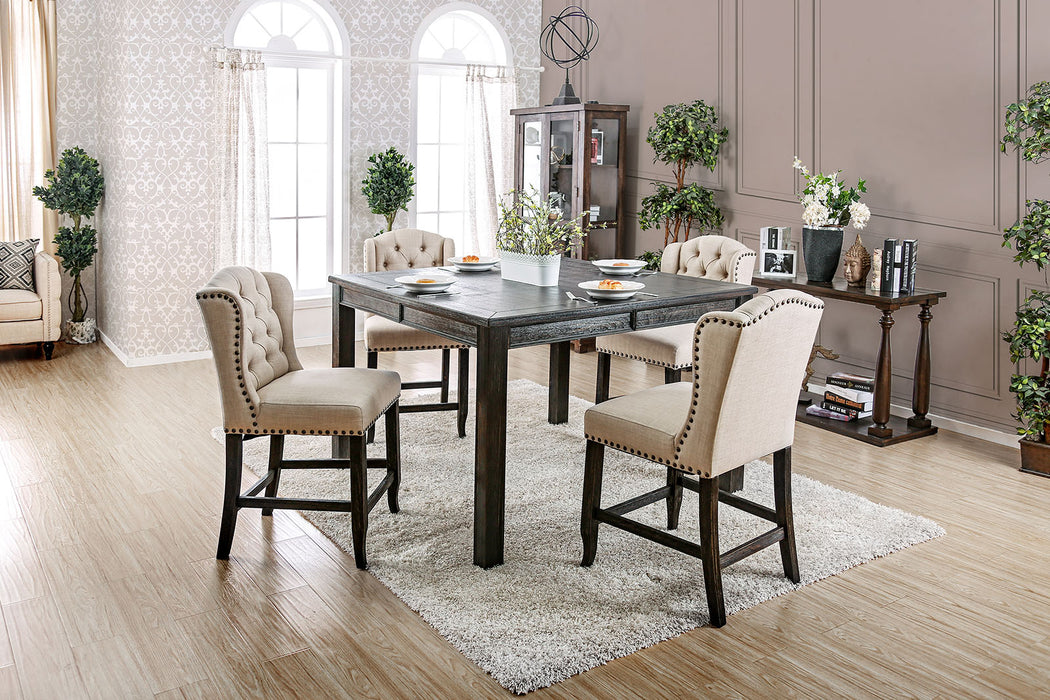 Sania III Antique Black, Ivory 6 Pc. Sq. Dining Table Set w/ Bench