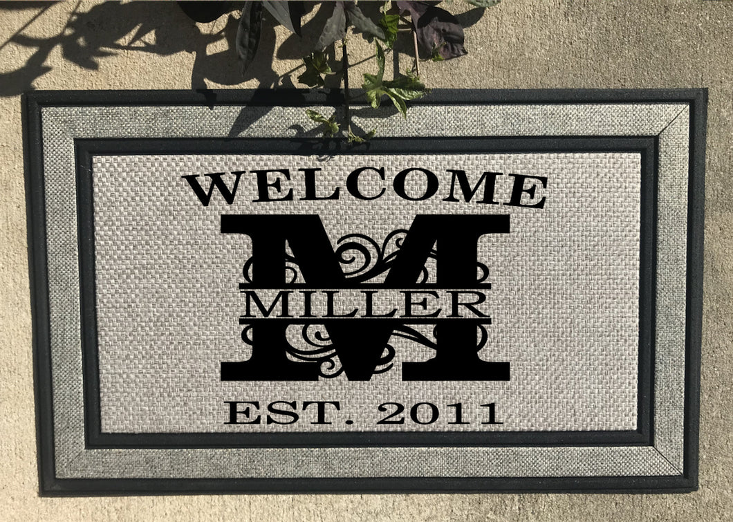 Rubber Backed Welcome Mat, Mat can be designed with any Letter (M shown for Picture)