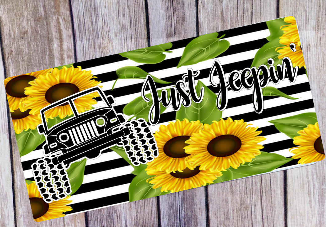 Jeepin License Plate/Sunflowers