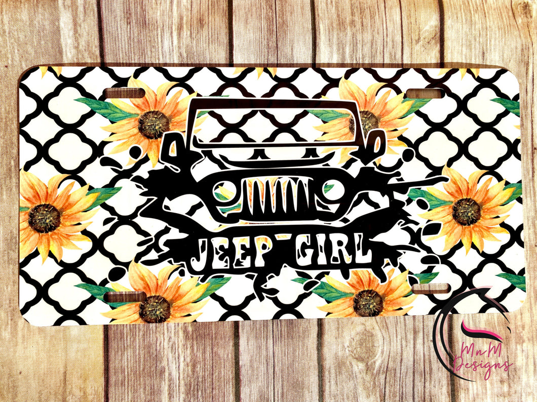 Jeep Girl Sunflower License Plate