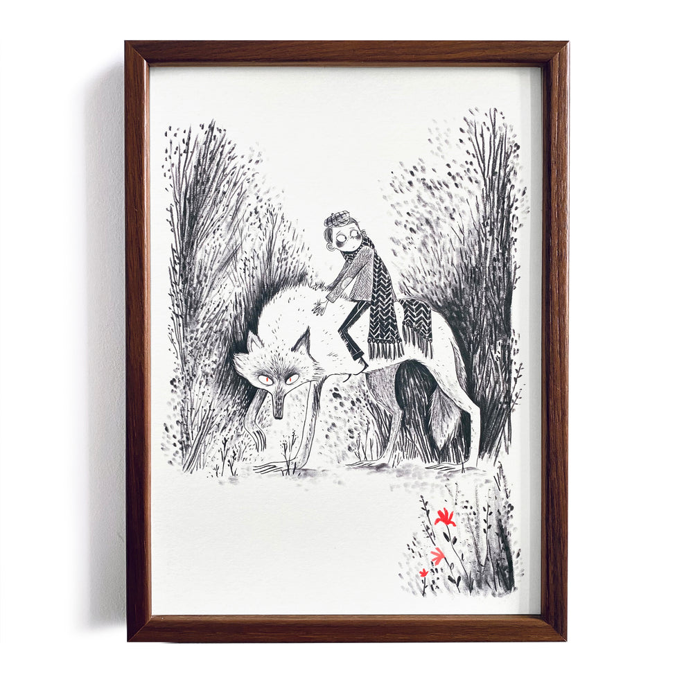 Boy and Wolf ~ A4 Art Print - Miss Powell Prints