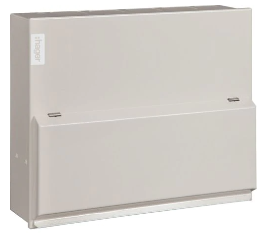 Hager Design 10 Consumer Unit 8way 100A with SPD & Round K/Outs
