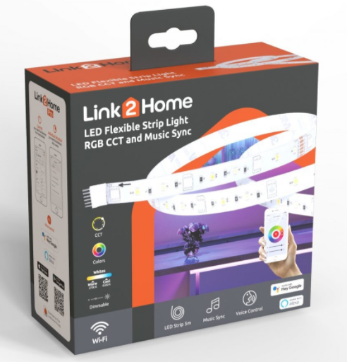 Link2Home 5m LED Tape with RGB WIFI+Bluetooth & Music Sync