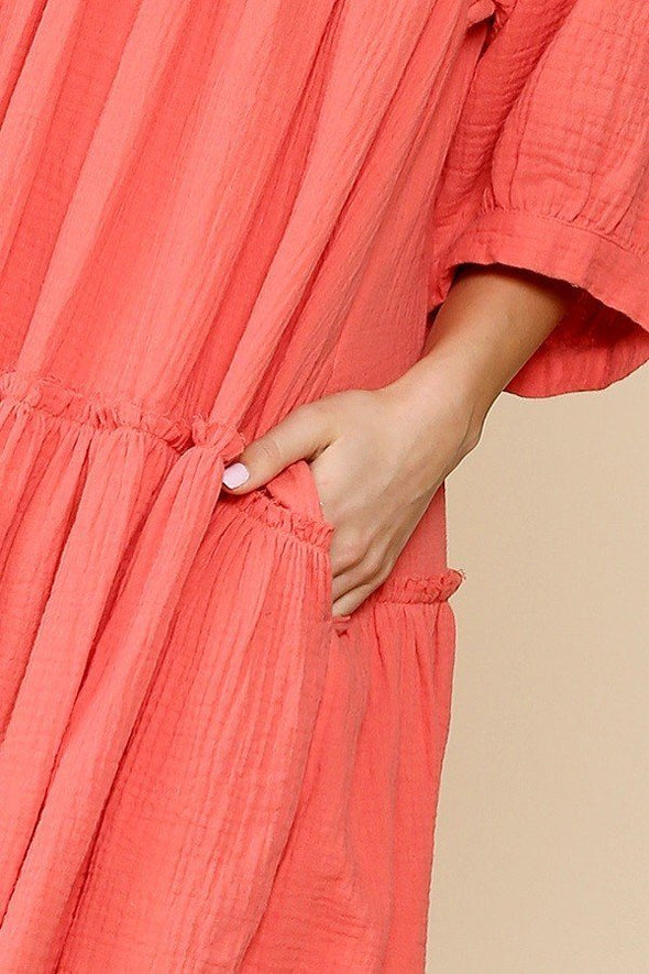 Dainty And Sweet Coral Dress
