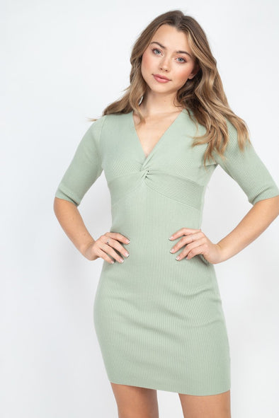 Spring Performance Sage Twist Knitted Dress