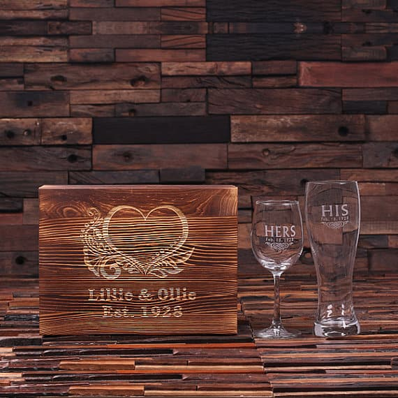 PERSONALIZED HIS AND HERS WINE AND BEER GLASS WITH WOOD GIFT BOX