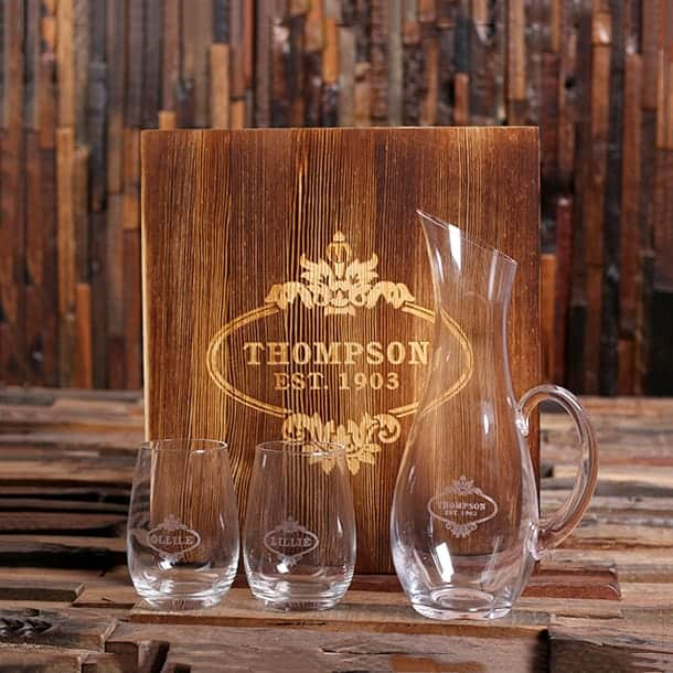 PERSONALIZED WINE DECANTER SET AND STEMLESS WINE GLASSES