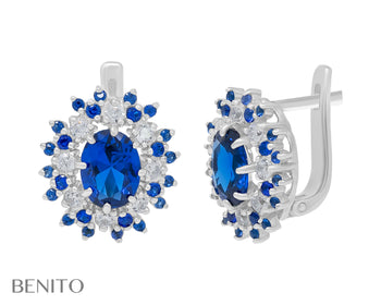 Alessandra Earrings Blue Spinel and Zirconia Stones