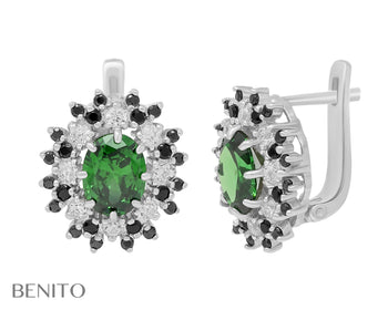 Alessandra Earrings Green, Black and White Zirconia Stones