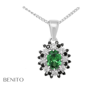 Alessandra Pendant with Green, Black and White Fianit Stones
