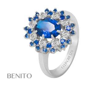 Alessandra Ring Blue Spinel and Zirconia Stones