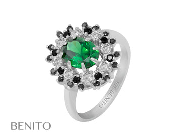 Alessandra Ring with Green, Black and White Zirconia Stones