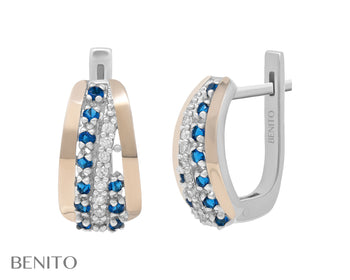 Clelia Earrings Blue and White Zirconia Stones