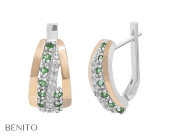 Clelia Earrings Green and White Zirconia Stones