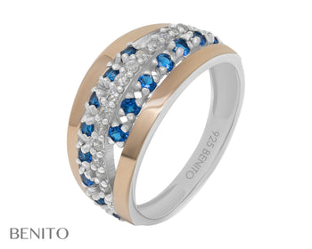 Clelia Ring Blue and White Zirconia Stones