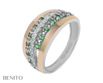 Clelia Ring Green and White Fianit Stones