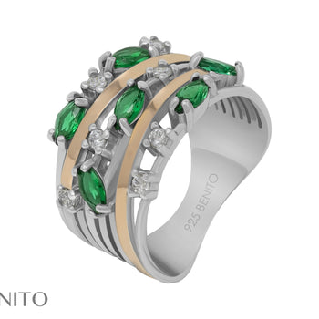 Giorgia Ring Green and White Fianit Stones