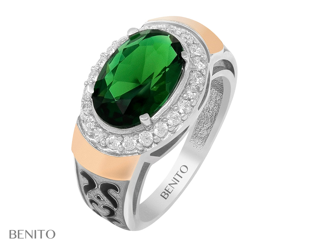 Olivia Ring Green and White Fianit Stones