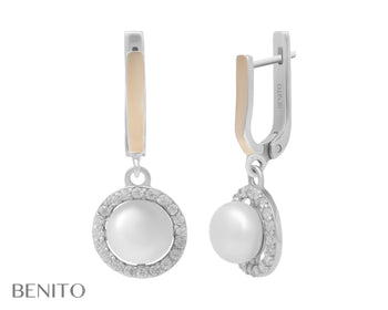Romina Earrings White Pearl and Fianit Stones