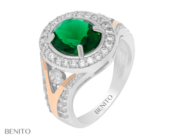 Rosaria Ring Green and White Fianit Stones