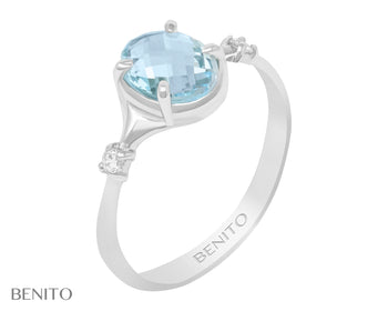 Sofia Ring Blue Topaz Stone