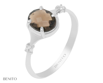 Sofia Ring Brownish Smoky Quartz Stone