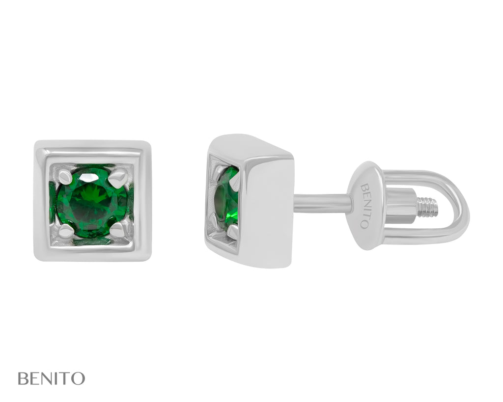 Tina Stud Earrings Green Zirconia Stones