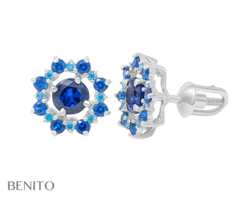 Valentina Earrings Blue Spinel and Fianit Stones