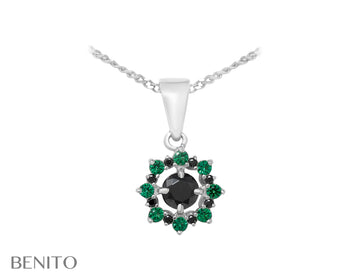 Valentina Pendant Green and Black Fianit Stones