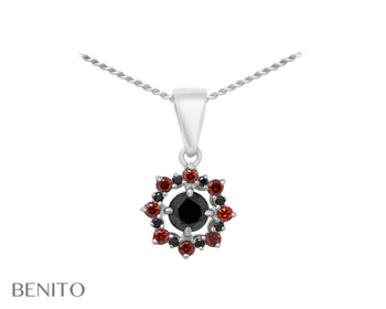 Valentina Pendant Red and Black Fianit Stones