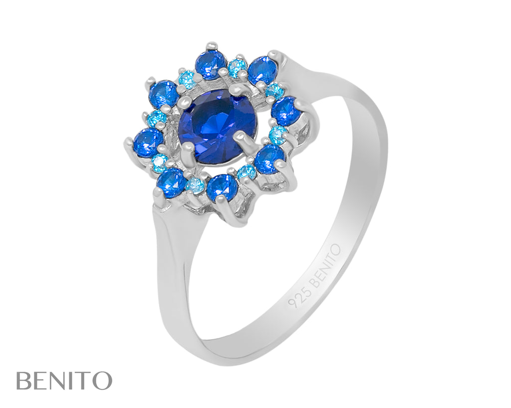Valentina Ring Blue Spinel and Fianit Stones