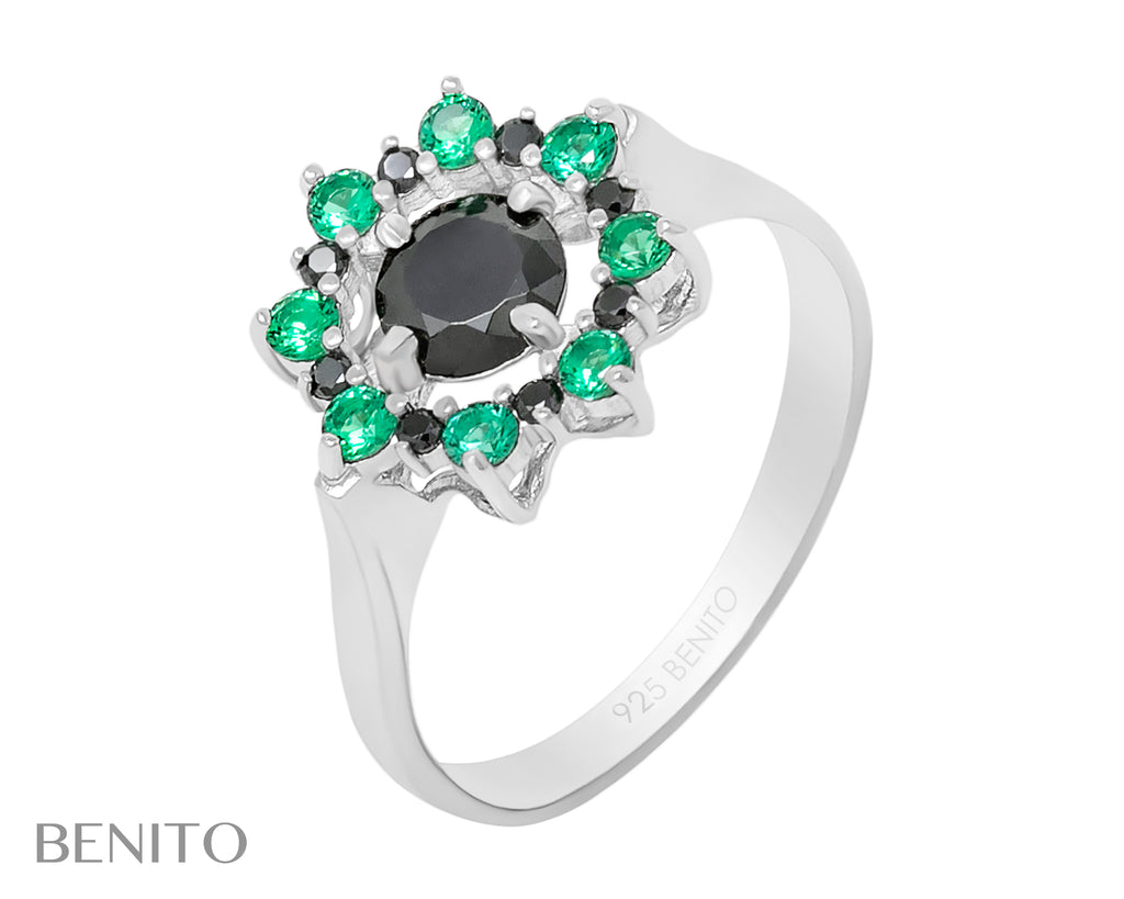Valentina Ring Green and Black Fianit Stones