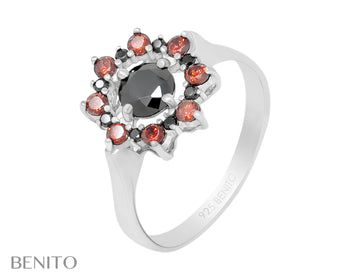 Valentina Ring Red and Black Fianit Stones