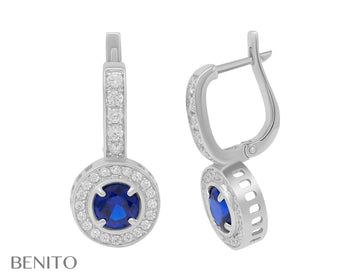 Viola Earrings Blue Spinel and White Fianit Stones