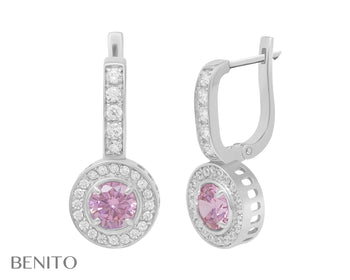 Viola Earrings Pink And White Zirconia Stones