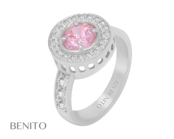 Viola Ring Pink and White Zirconia Stones