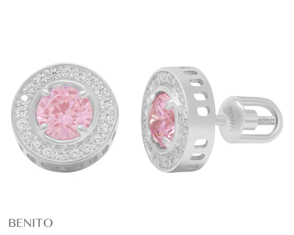 Viola Stud Earrings Pink And White Zirconia Stones