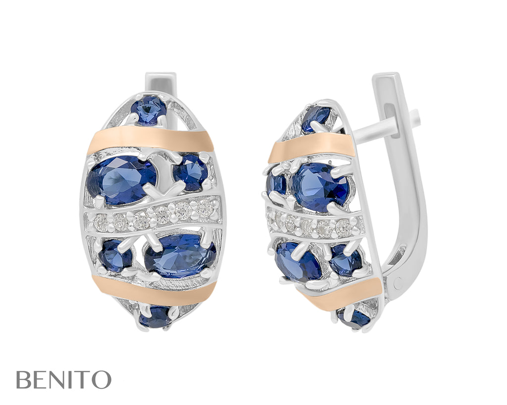Vittoria Earrings Blue and White Fianit Stones