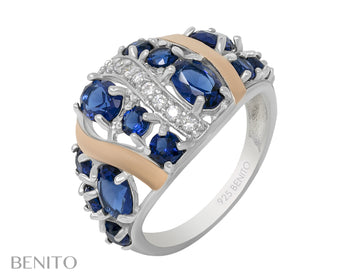 Vittoria Ring Blue and White Fianit Stones