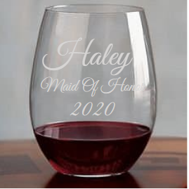 Bridal Party Engraved Stemless Wine Glass