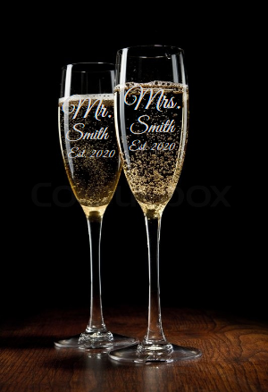 Personalized His and Hers Champagne Flute