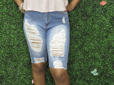 FRONT AND BACK DISTRESSED BERMUDA SHORTS
